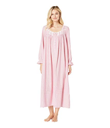 Eileen West Women's Flannel Ballet Nightgown Red Stripe X-Large