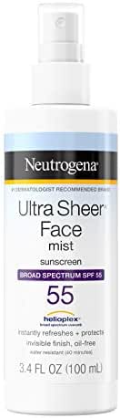 Neutrogena Ultra Sheer Face Mist Sunscreen Spray SPF 50 with Helioplex, Oxybenzone-Free Spray Sunscreen is Non-Comedogenic, Lightweight, Water-Resistant & Oil-Free, Travel Size, 3.4 fl. oz