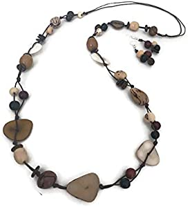 Organic Necklace and Earrings Set Tag124NS Tagua Nut Necklace Set