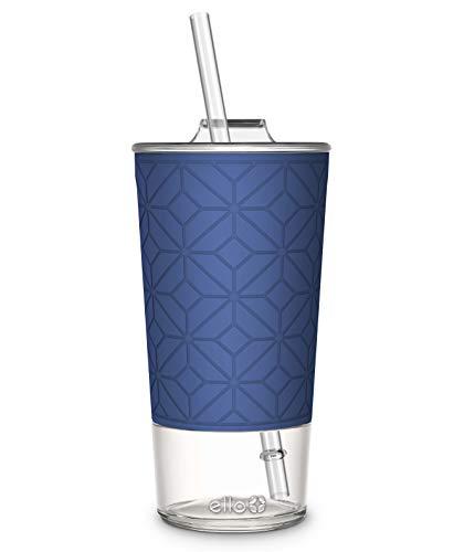 Ello Tidal Glass Tumbler with Straw, 20 oz, Bold Blue Texture