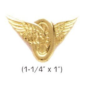 MOTORCYCLE WINGS POLICE HIGHWAY PATROL COLLAR BRASS PINS INSIGNIA EMBLEM GOLD FINISH, 1-1/4