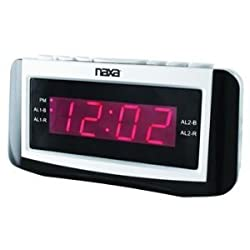 Naxa Naxa Pll Digital Alarm Clock With Am/fm Radio, Snooze & Large Led Display by Naxa Electronics