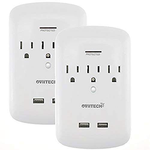 Surge Protector USB Wall Mount Outlet 3-Outlet Plug and Dual 2.4A USB Charging Ports,OviiTech Socket Plug Splitter Adapter,Thanksgiving White,2 Pack