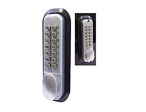 All-Weather Double Keypad Mechanical Keyless Latch Door Lock (Satin Chrome) by Code-a-Key ()