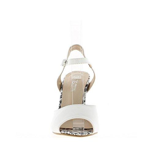 Sandales À Blanches De Talon Vernies 11cm rrwEUdqxC