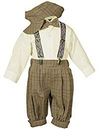 Vintage Dress Suit-Bowtie,Suspenders,Knickers Outfit Set for Baby Boys & Toddler, Brown Plaid 3T by SK