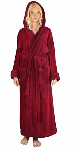 ngth Long Hooded Soft Twist Turkish Cotton Bathrobe, Large, Burgundy ()