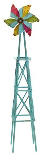 Genevieve Gail Collectible Fairy Garden 10.5 Inch Distressed Mini Windmill - Genevieve Accessory