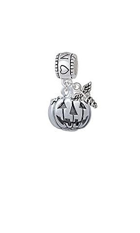 3-D Large Jack O' Lantern with Leaves - I Heart Nursing with Mini Caduceus Charm Bead - Jack Heart Charm