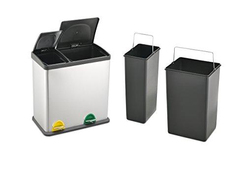Treteimer Abfalleimer Mülleimer Mülltrennung Edelstahl (36 Liter 12L+24L)