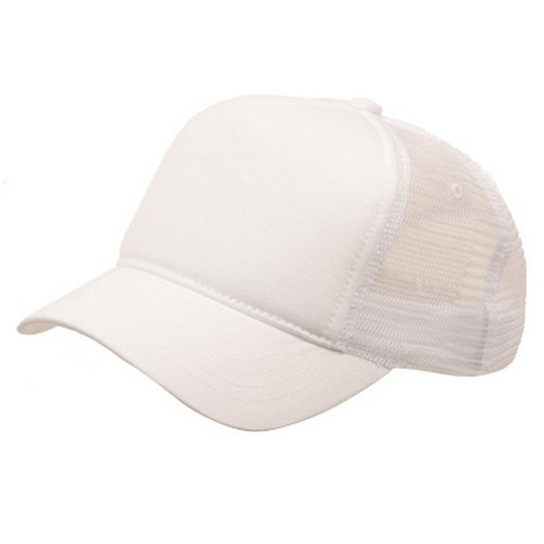 Short Bill Trucker Cap - MG Short Bill Trucker Cap-White White OSFM