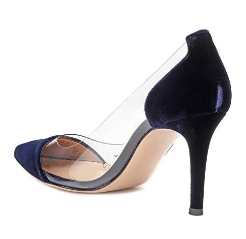 Talon Haut Grande Stilettos daim Transparent Bleu Pvc Aiguille Escarpins Femme Talons 85mm Ubeauty Taille Femmes Chaussures YIwfwRO
