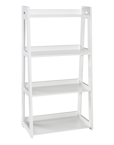 ClosetMaid 3317 No-Tool Assembly Ladder Shelf, Wide 4-Tier, White