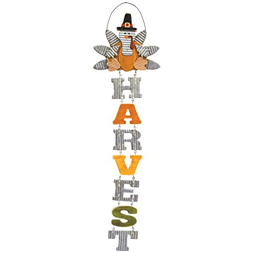 One Holiday Way Rustic Thanksgiving Turkey Harvest Sign Wall Art - Hanging Fall Decoration
