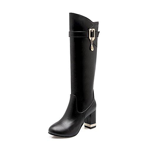 Allhqfashion Women's Round Closed Toe Mid Top High Heels Solid Pu Boots Black HahnNLlui