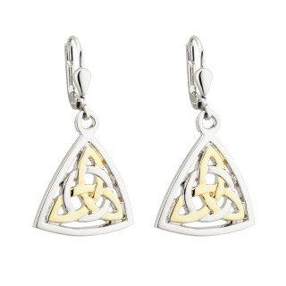 Celtic Gold Jewelry (Solvar Rhodium and 18k Gold Plated Celtic Drop Earrings)