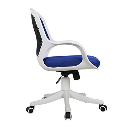 Kontorsstol mellanrygg svängbar ländrygg stöd skrivbordsstol, ergonomisk dator/kontorsstol, dator ergonomisk nätstol med armstöd (blå)
