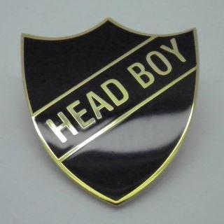 Head Boy Enamel School Shield Badge - Black - Pack of 10 by Lapal Dimension