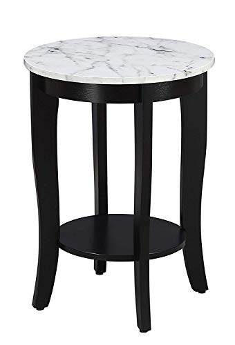 Convenience Concepts American Heritage Round End Table, White Faux Marble Top/Black