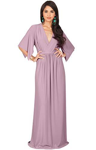 Jersey V-neck Waist Empire (KOH KOH Womens Long Kaftan Caftan Short Sleeve Empire Waist Flowy V-Neck Summer Bridesmaid Evening Sexy Cute Modest Maternity Gown Gowns Maxi Dress Dresses, Dusty Pink M 8-10)