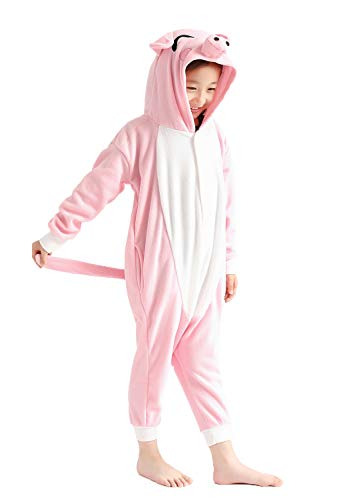 Kids Unisex Animal Cuddly Pink Pig Pajamas Cosplay Costume -
