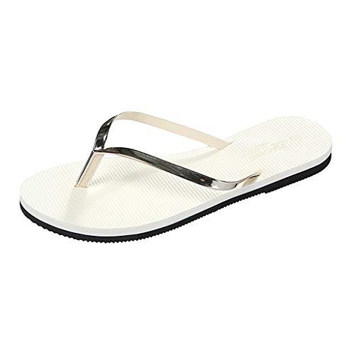 Hurrybuy Women's Sandals Anti-Skid Flip Flops Flat Bottomed Beach Slippers Lightweight Bath Slippers Slide Sandals Beige