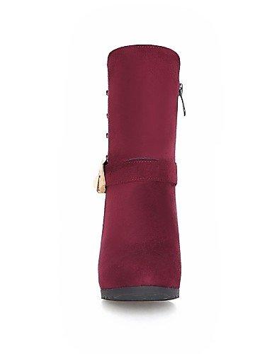Damen Stiefel Keilabsatz Fashion Casual Schuhe Stiefel Beute Beute Citior Zehen Damen Fleece Rund BwqEBA5