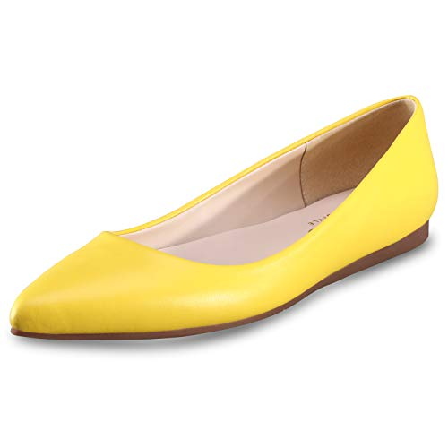 - Women's Flat Shoes Classic Leather Casual Pointed Toe Slip On Shoes Ballet Flats Yellow