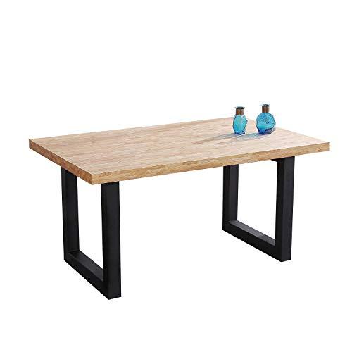 Adec - Loft, Mesa de Comedor, Mesa Salon Fija Color Roble Salvaje y Negro, Medidas: 160 x 100 x 75 cm de Alto