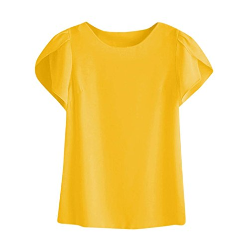 - FORUU Women Summer O Neck Chiffon Solid Short Sleeve Blouse Tops Clothes T Shirt Yellow