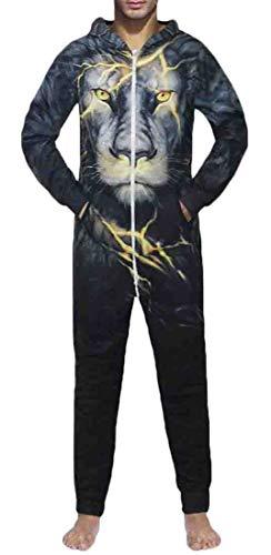 S-Fly Men's Hooded Zip-Up Lion Onesie Jumpsuit Adult One-Piece Sleepwear Pockets Pajamas Black L ()
