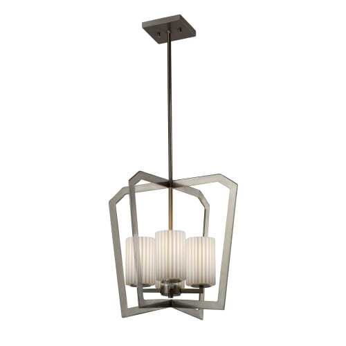 Justice Design Group Limoges Aria 4-light Brushed Nickel Chandelier, Pleats Cylinder - Flat Rim Shade (Light Chandelier 10 Aria)