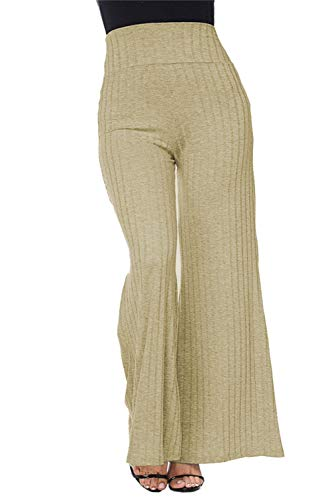COCOLEGGINGS Female Ribbed Knit High Waisted Flare Leg Pants Khaki M ()
