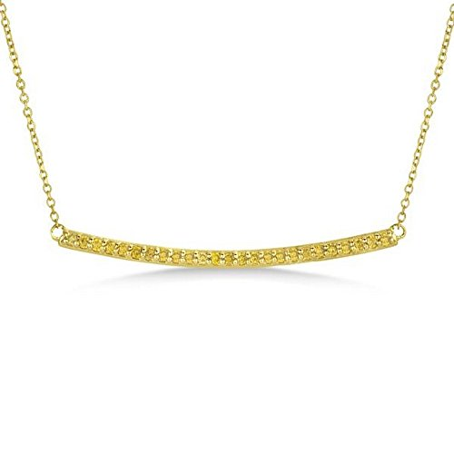 Ladies Dazzling Pave Set Horizontal Yellow Diamond Bar Necklace In Polished 14k White Gold (0.25 Ct Dazzling Diamond)