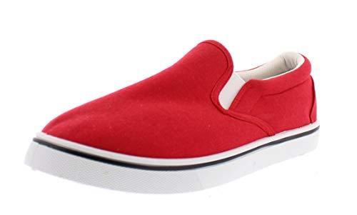 Doug Mens Slip On Shoes,Casual Skate Canvas Sneakers,Slipon Men's Boat Deck Shoe Red 8.5W US
