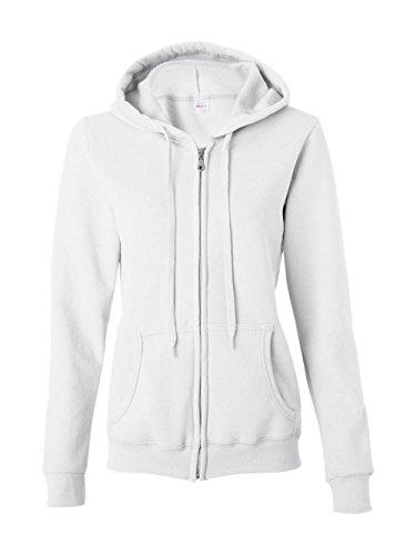 Gildan Women's Blend Full Zip Hooded Pouch Pocket Sweatshirt, White, Large -