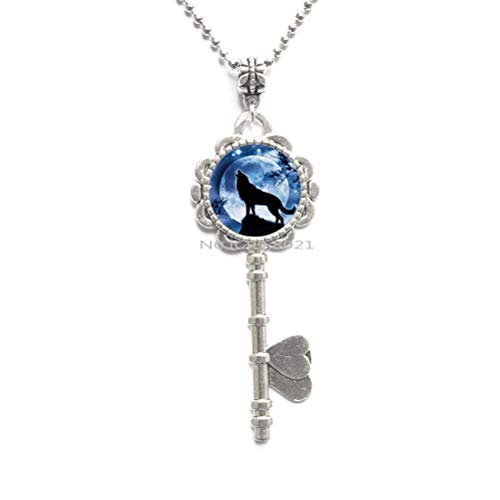 Art Glass Pendant Howling Wolf Key Necklace Wolf and Full Moon Pendant Jewelry for Men Fashion -RG140