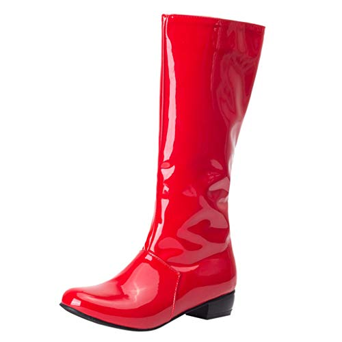 Cenglings Women Patent Leather Knee High Boots, Round Toe Low Chunky Heel Booties Zip Ankle Boots Mid-Calf Slip On Shoes ()