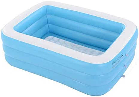 Piscina Hinchable Infantil, Azul Rectangular De Tamaño Real Piscinas Easy Set Kiddie con Bomba Y Kit De Parches, para Los Niños, Adultos, Bebés, Niños(con Capacidad para 12 Personas),1.3m 3layers: Amazon.es: Hogar