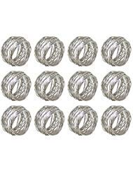 ARN Craft Silver Round Mesh Napkin Rings- Set of 12 for Weddings Dinner Parties or Every Day Use (CW- 07-12) ()