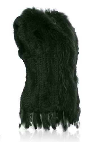 100 Fourrure de Raccoon Lapin Veste de col tricot avec HEIZZI dxfnad