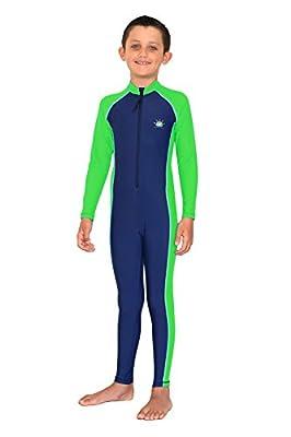 Kids Full Body Swimsuit Stinger Suit Sun Protection Swimwear UPF50+ Navy Lime