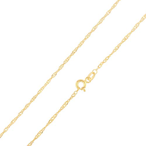 (Ioka - 14K Yellow Gold 1.6mm Hollow Singapore Chain Necklace with Spring Ring Clasp - 16
