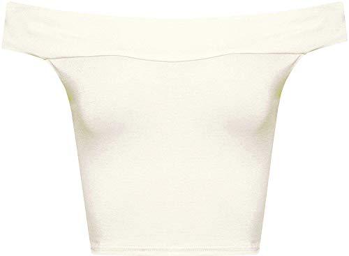 WearAll Women's Off Shoulder Plain Short Crop Bandeau Open Cowl Neck Top - Cream - US S/M=4-6 (UK M/L=8-10)