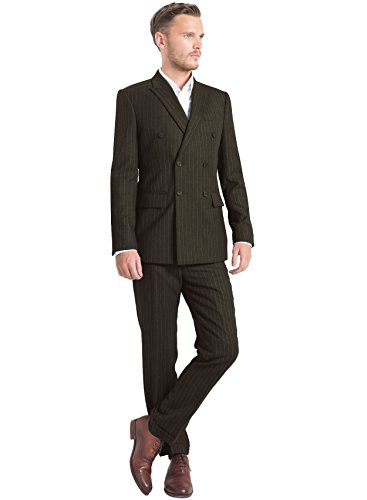 iTailor Men's 6-Button Double Breasted Pinstripe Suit Brown 38 Regular (Brown Pinstripe Wool Suit)