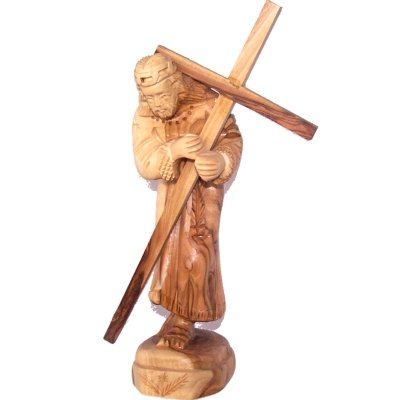 Jesus carrying the Cross - Olive wood (22.5x8x6 cm or 8.9x3.2x2.4'')