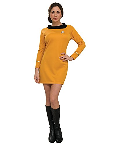 Womens Star Trek Costume Movie Costumes Trekky Gold Shirt Dress Sizes: Medium