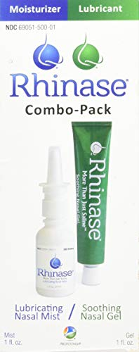Rhinase (Nasal Gel 1 oz and Saline Nasal Spray 1 oz) Combo Pack for Dry Nose Sinus, Allergy and to Prevent Nosebleeds Caused by Nasal Dryness