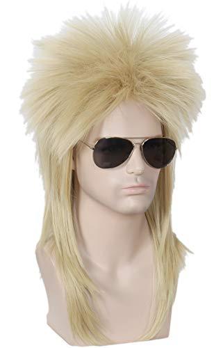 Linfairy 80s Rock Wigs Halloween Blonde Mullet Fancy Dress Wig not Style ()