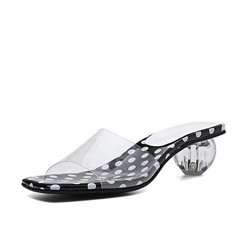 I Need-You Fashion Women's Mules Shoes Ladies TPU Polka Dot Women Shoes Woman Casual Party Outside Summer Slippers Sandals,Black Polka dot,6.5 ()
